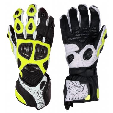 AGVSPORT Мотоперчатки кожаные EVOLUTION черн/жел/бел