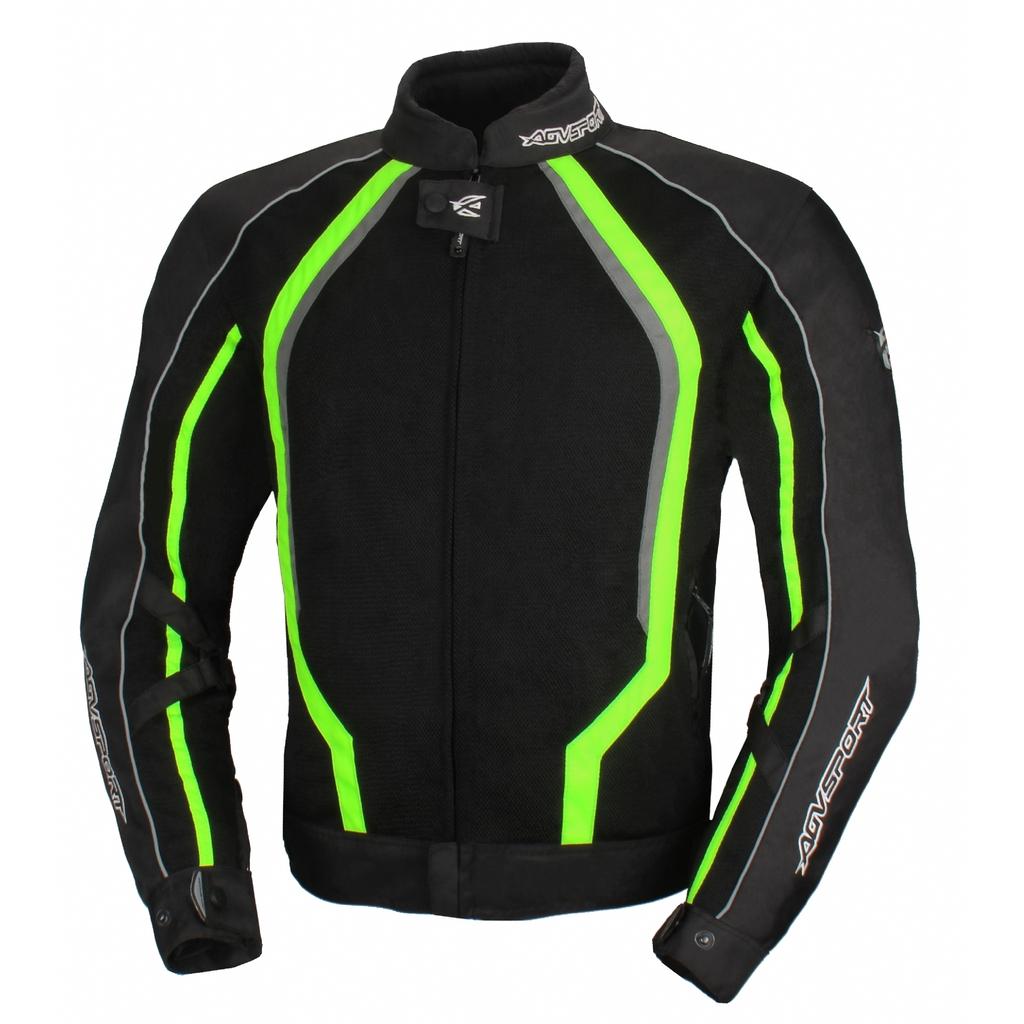 AGVSPORT Текстильная куртка Solare II чёрная/флуоресцентно-желтая